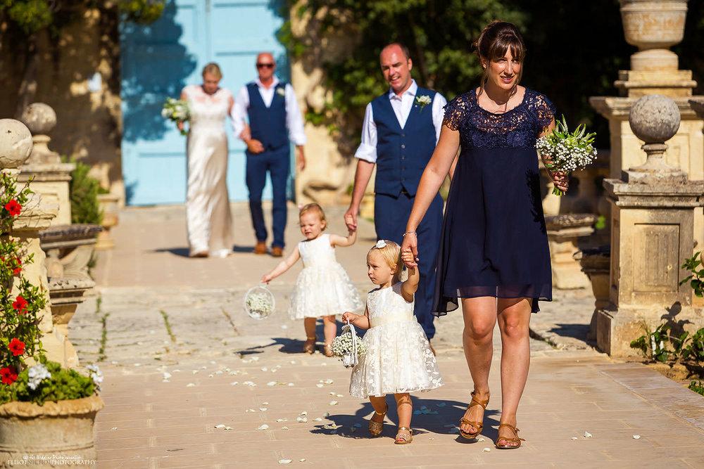 Bridal wedding procession into the gardens of Villa Bologna, Malta.