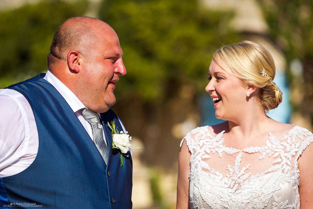bride meets her groom at the wedding ceremony at Villa Bologna, Malta.