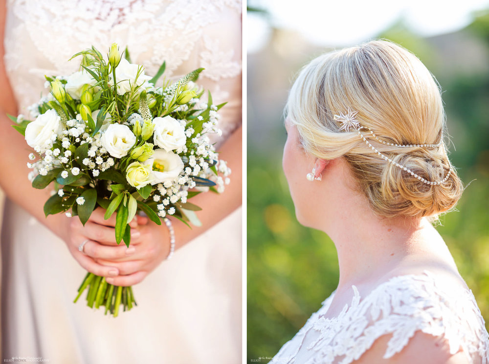Brides hairpiece and bouquet detail. Wedding Photography by Elliot Nichol