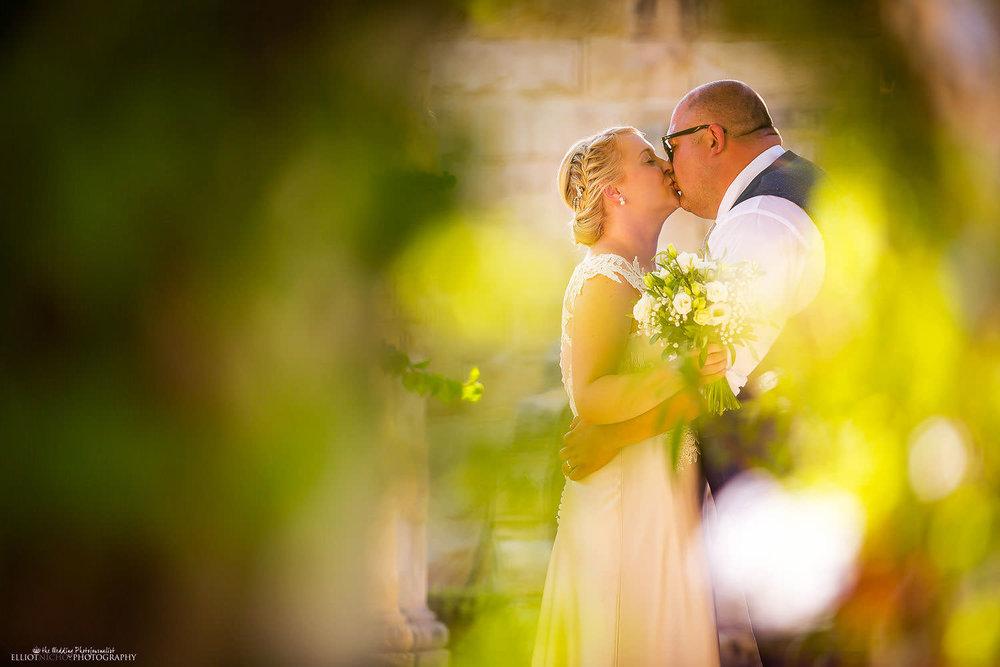 Bride and Groom portrait in the Villa Bologna Gardens in Malta.
