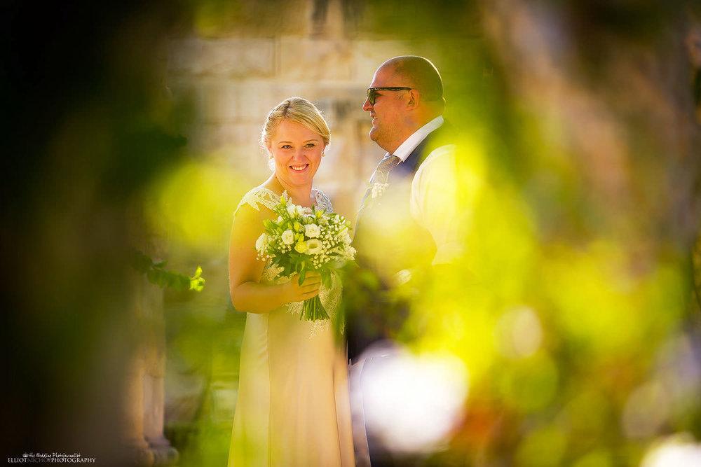 Bride and groom at their wedding venue the Villa Bologna gardens