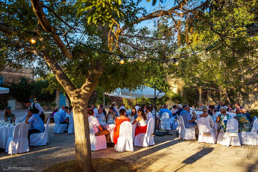 wedding reception sit down meal at Villa Bologna, Malta.