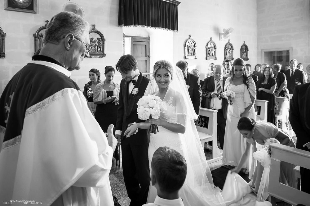 Bride and groom meet each other in St Pauls Church in Naxxar. Malta