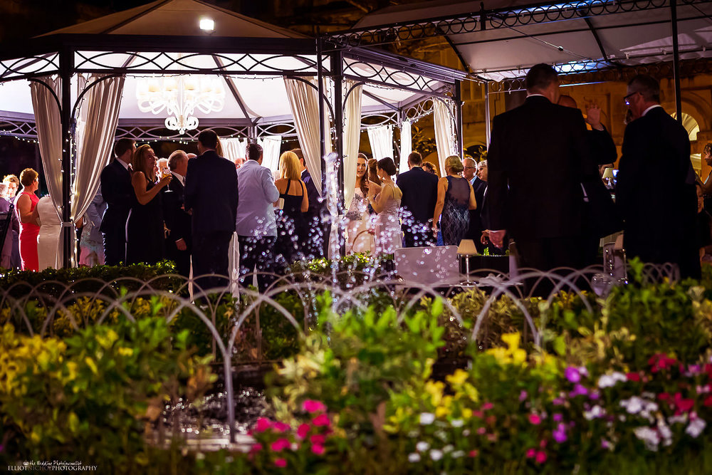 wedding reception in the gardens of the Palazzo Parisio, Malta