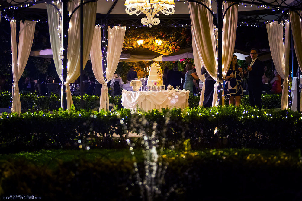 wedding cake set up in the gardens of Palazzo Parisio, Malta.