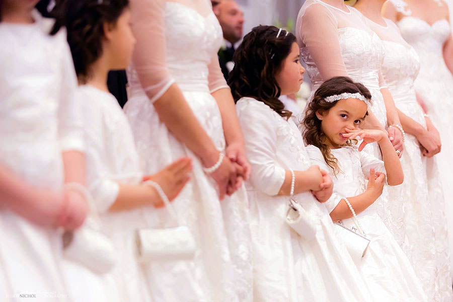 flower girl funny wiping nose wedding ceremony children