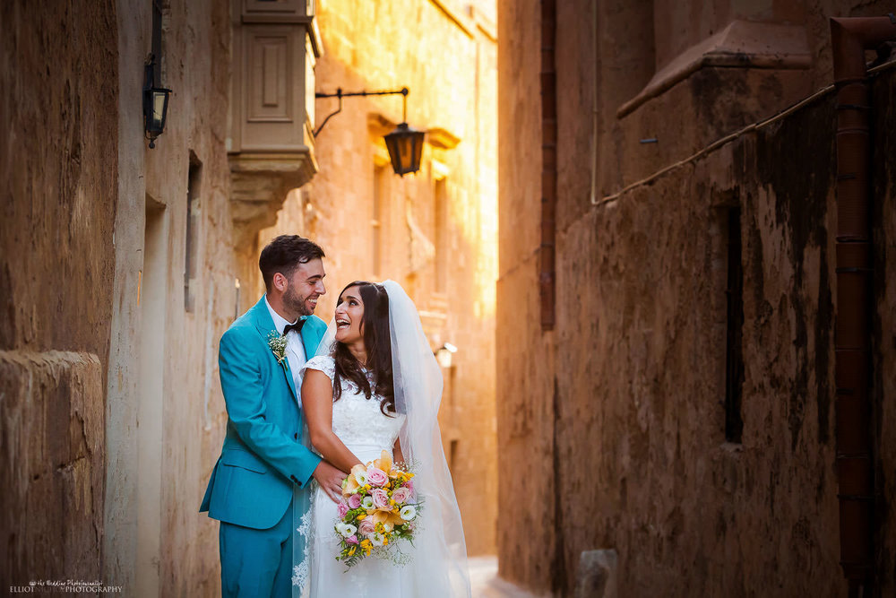 Bride and groom in Mdina, Malta. Wedding Photography by Elliot Nichol