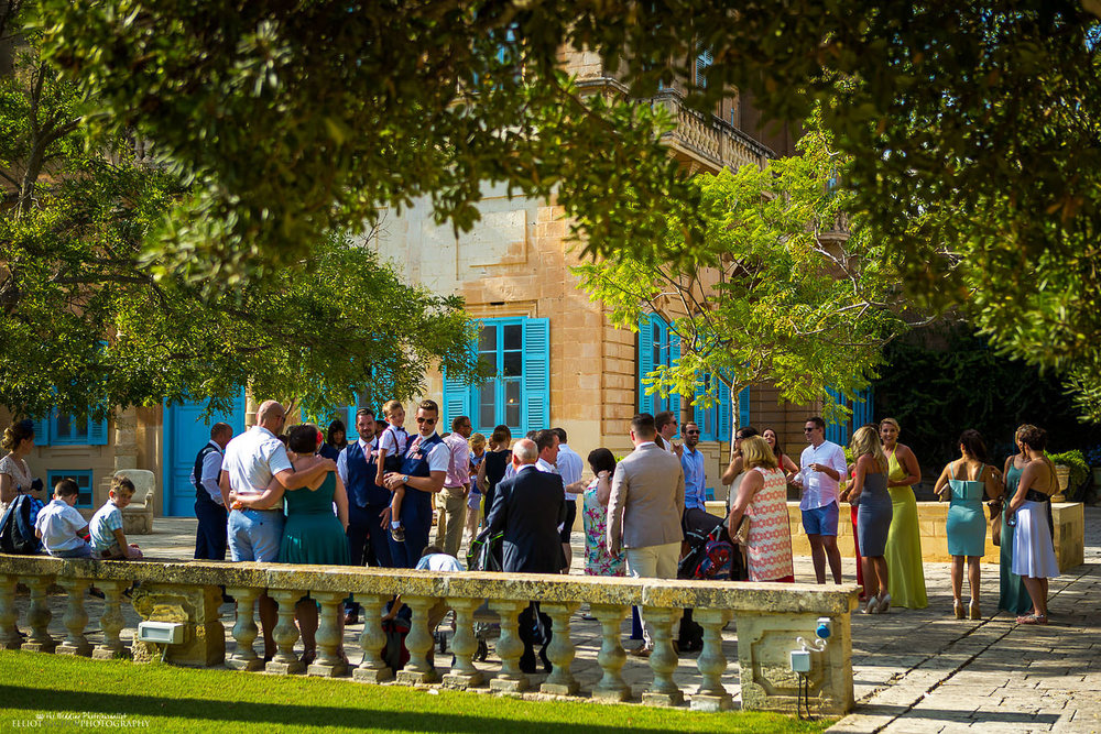 Wedding guests at Villa Bologna, Malta.