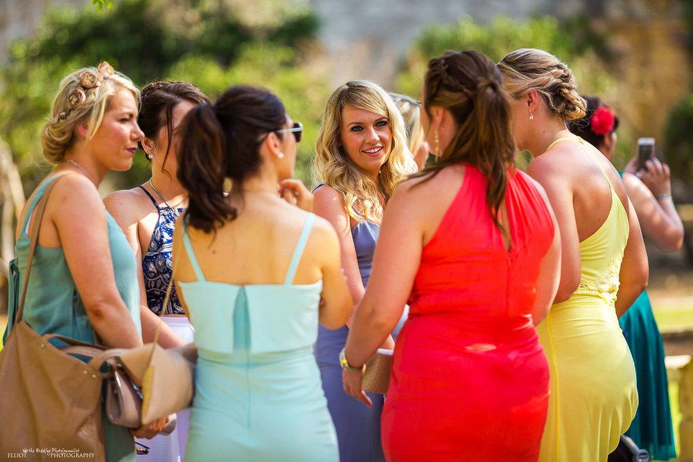 Female wedding guests at a destiantion wedding in Malta.