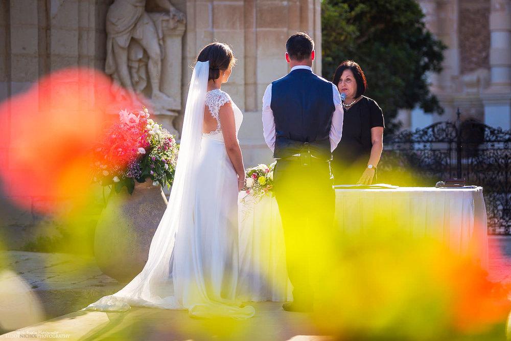 Malta wedding photography during wedding ceremony at Villa Bologna, Attard.