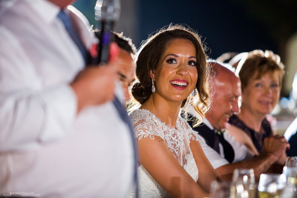 brides reaction to her fathers speech.