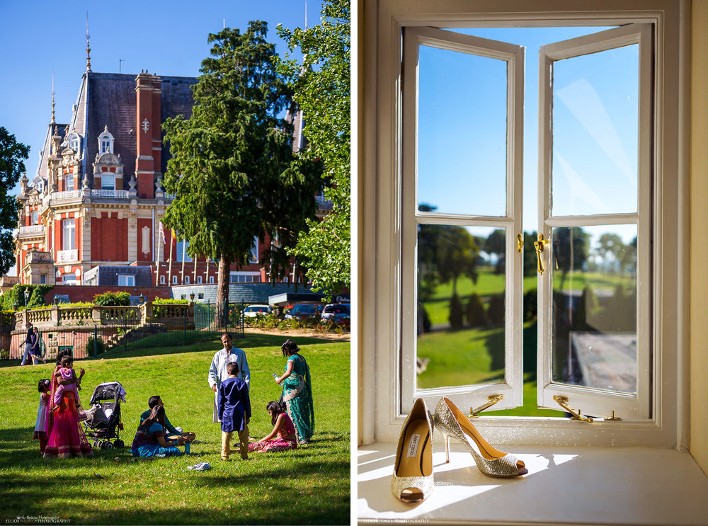 Indian wedding at Chateau Impney in Droitwich Spa. Brides wedding shoes on window sill.Photo by North East based wedding photographer Elliot Nichol.