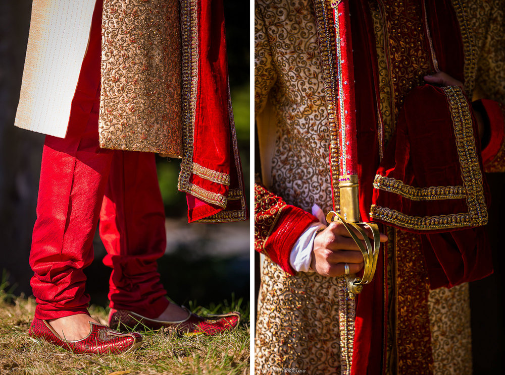 Indian groom dress detail - shoes and sword
