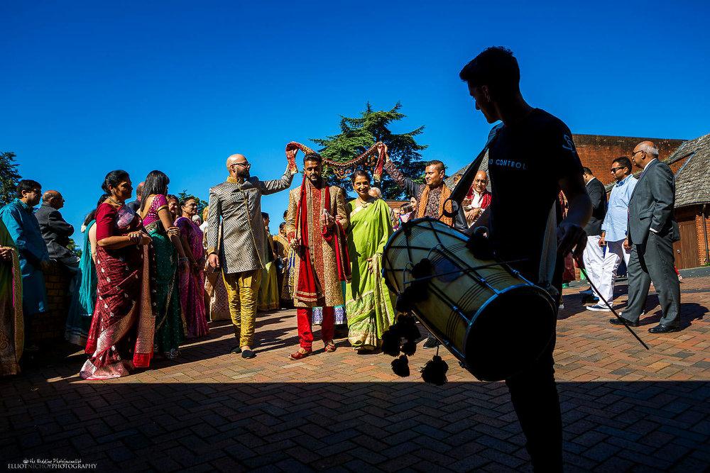 Indian Groom's procession to the Hindu wedding ceremony. Photo by Newcastle Upon Tyne based wedding photojournalist Elliot Nichol.