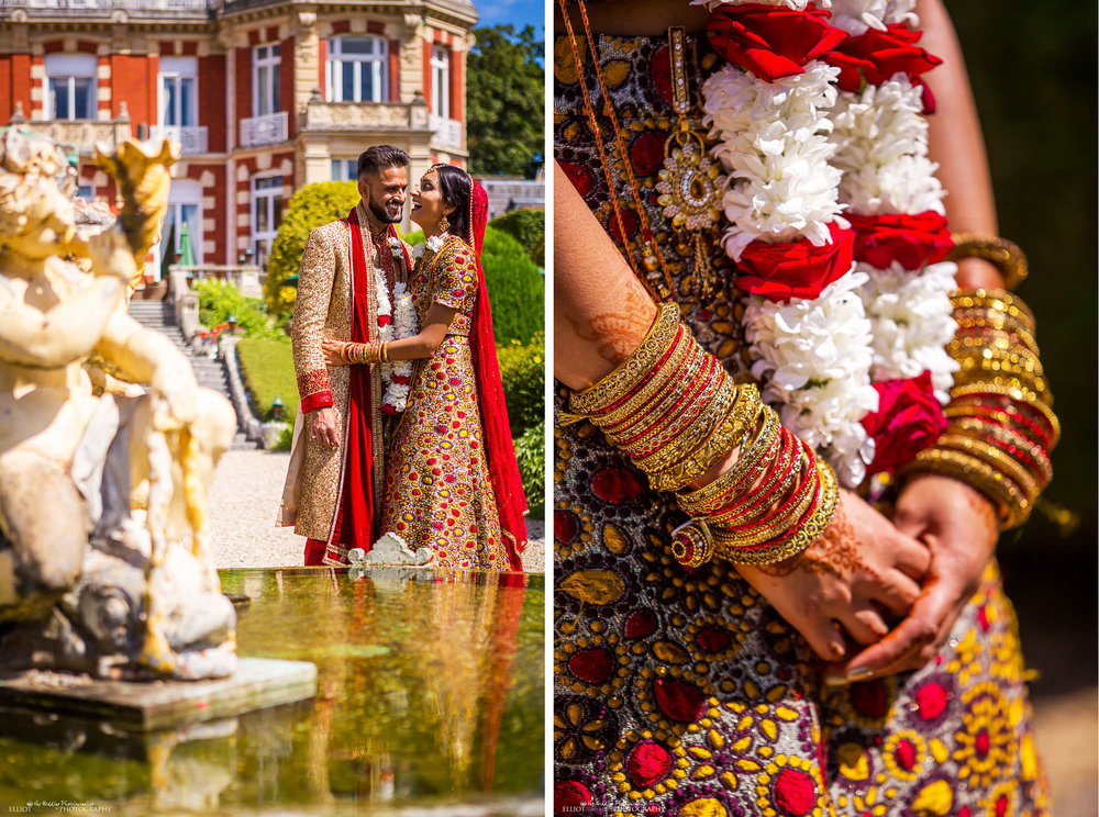 Portrait of the Bride and groom in their Indian Hindu dress at Chateau Impney. Photo by Newcastle Upon Tyne based wedding photojournalist Elliot Nichol.