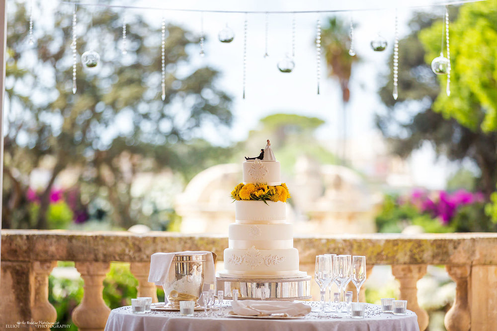 wedding cake on the balcony of the Palazzo Parisio in Naxxar, Malta.