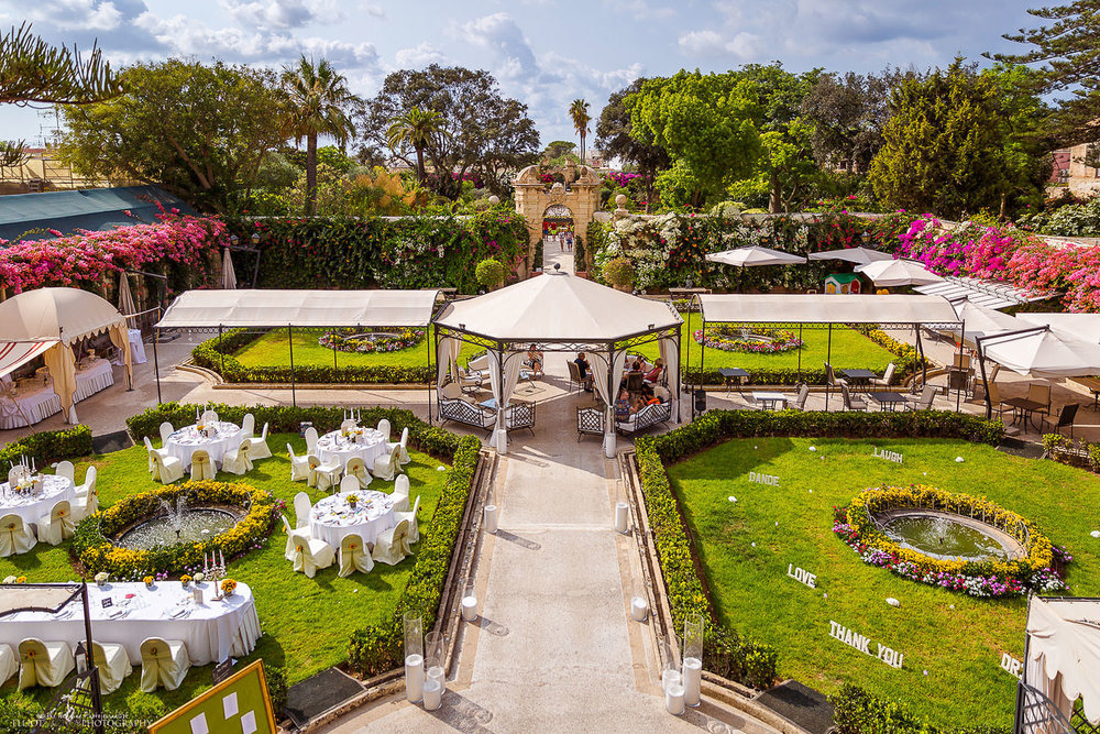 Gardens of the wedding venue the Palazzo Parisio in Naxxar, Malta.