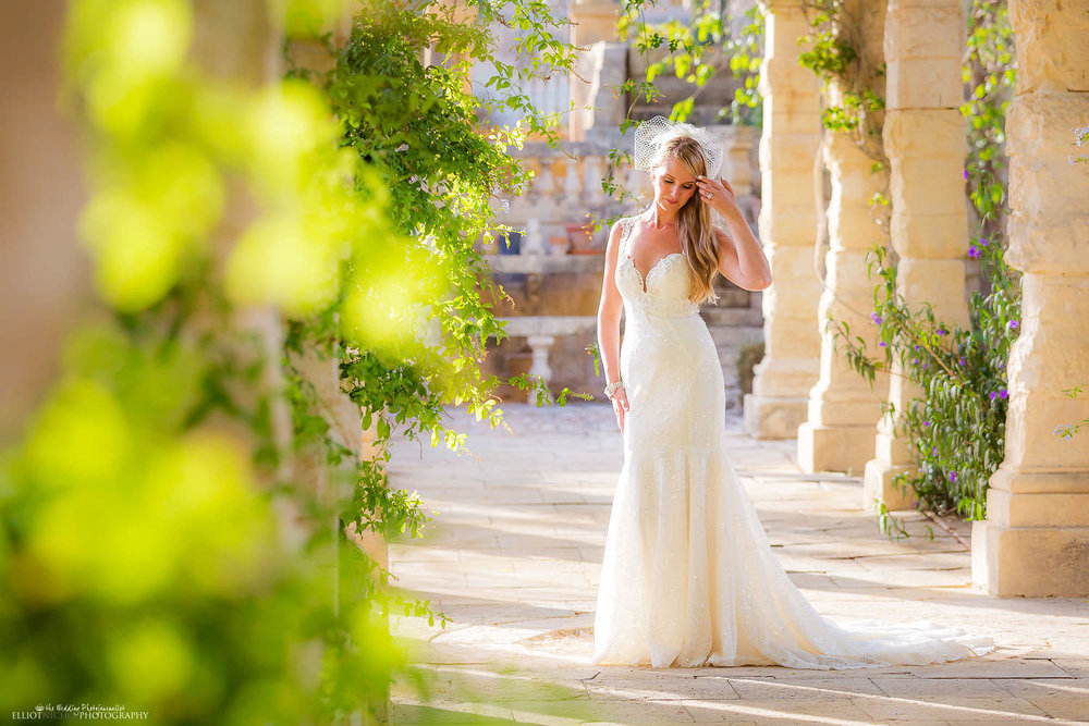 Villa Bologna bride in the gardens at her destination wedding in Malta.