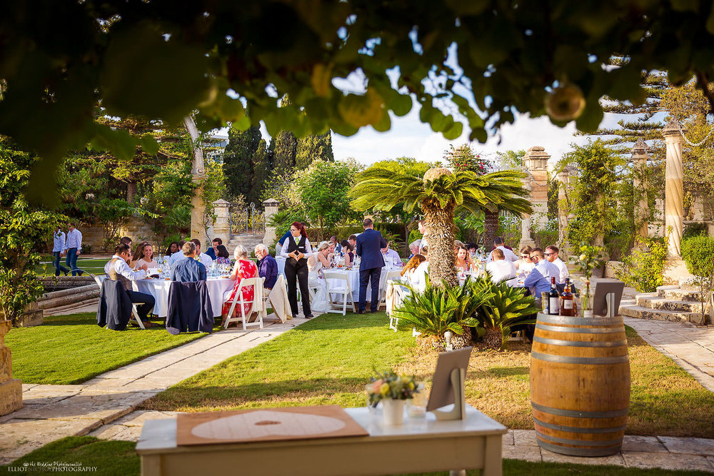 wedding reception in the gardens of Villa Bologna, Malta.