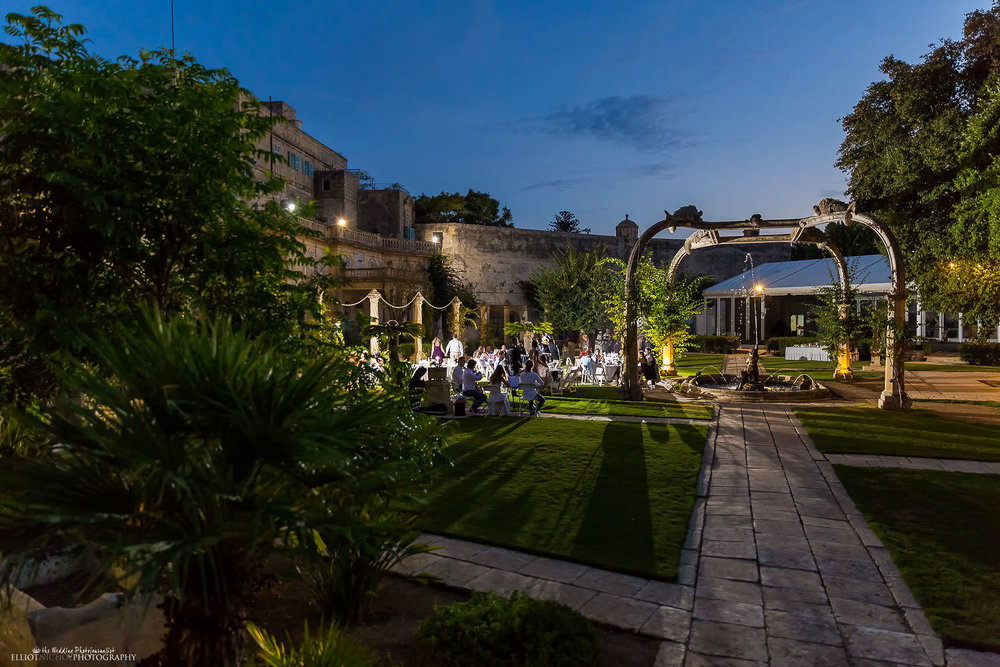 Destination wedding reception in the gardens of the Villa Bologna, Malta.