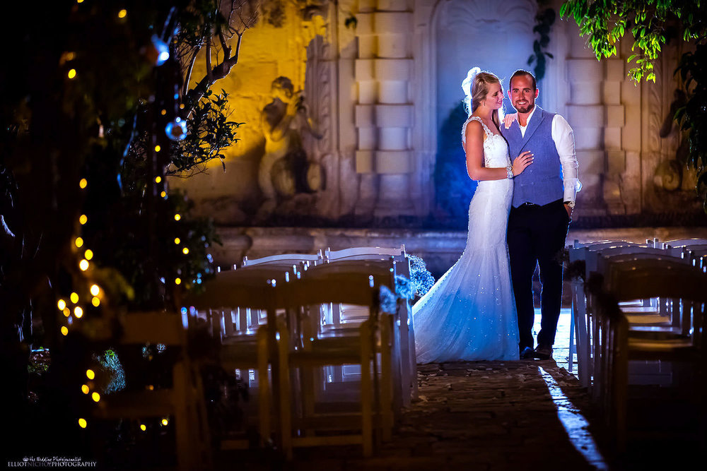 bride and groom in the gardens of Villa Bologna, Malta.