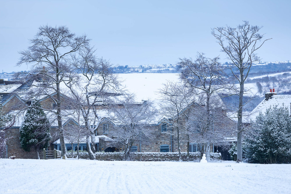 A snow covered Derwent Manor Hotel in Northumberland.