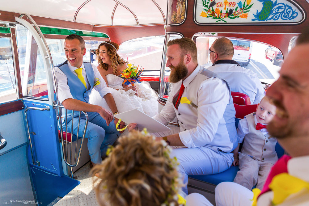 bride-groom-guests-wedding-bus-coach-Malta