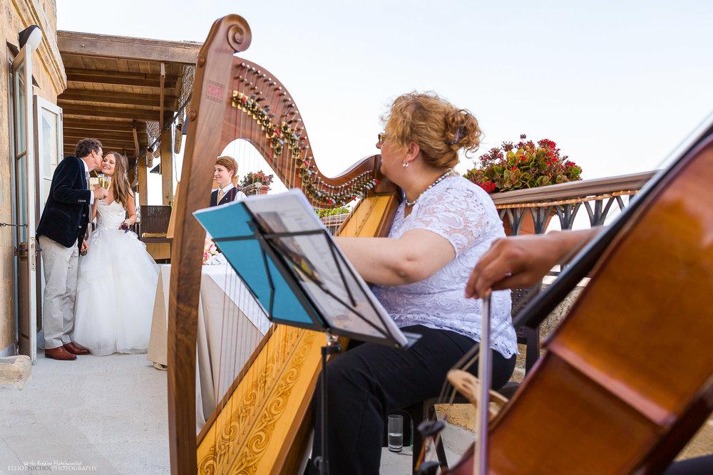 groom-kissing-bride-harp-music-wedding-reception