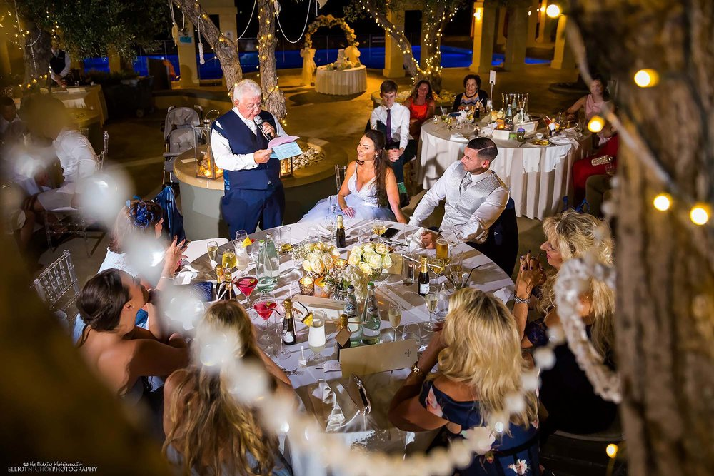 Father of the bride delivers his wedding speech during the wedding reception. Photo by Northeast and destination photographer Elliot Nichol.