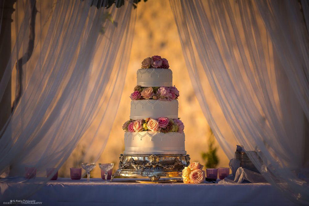 Detail of the bride and grooms three tier wedding cake. Photo by Newcastle based wedding photographer Elliot Nichol.