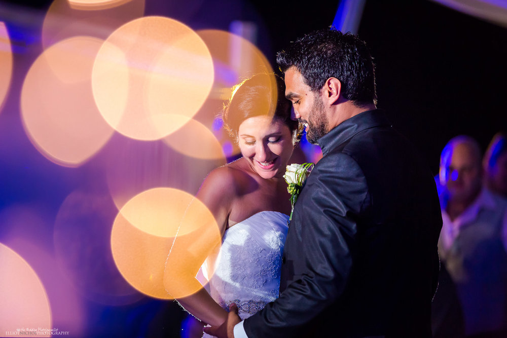 Bride and groom take their first dance together. Photo by North East wedding photographer, Elliot Nichol.