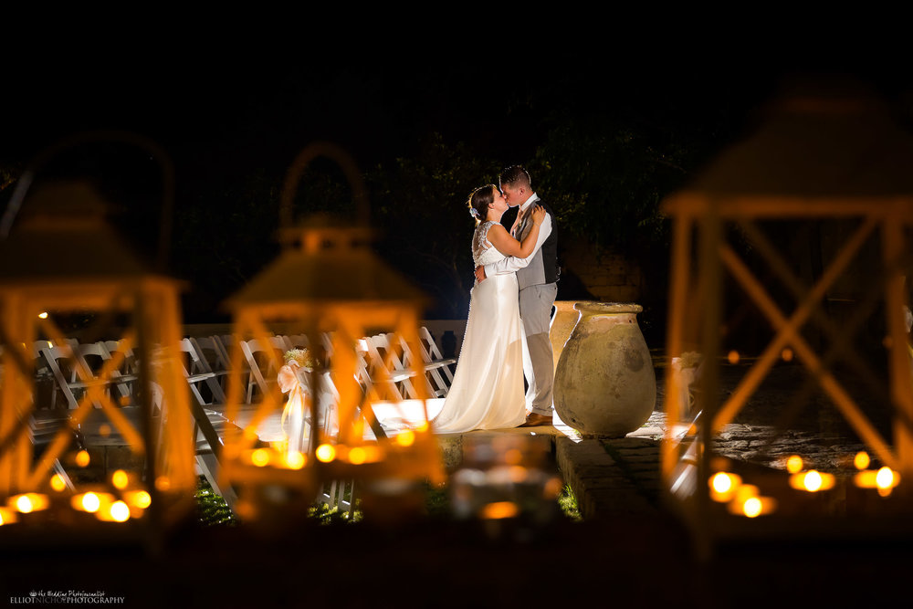 Garden wedding venue filled with lanterns. Photo by Elliot Nichol Photography.