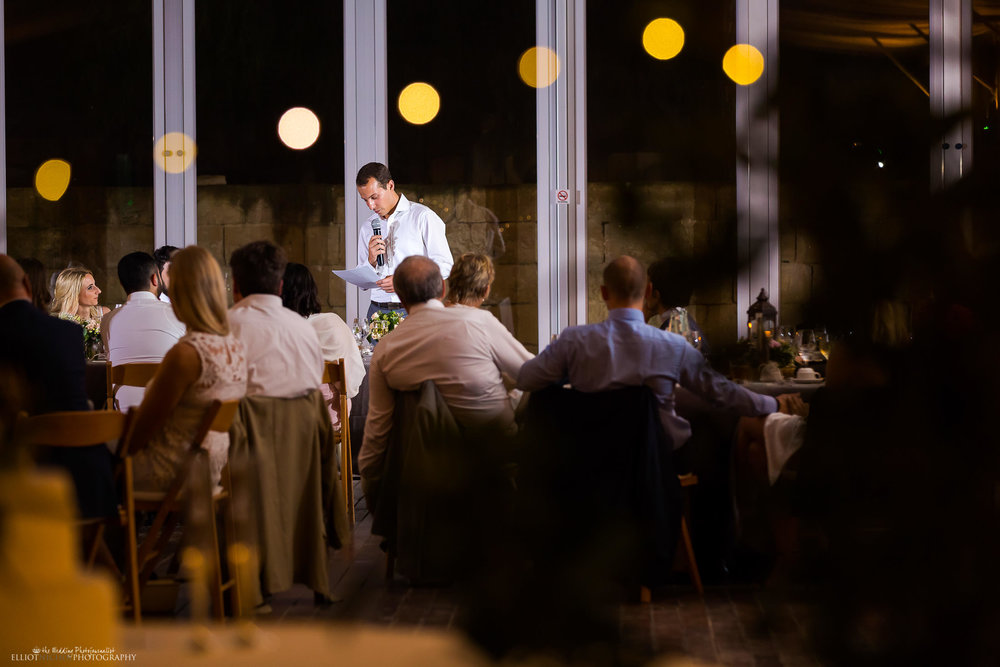 Best man during his wedding speech. Photography by Elliot Nichol.