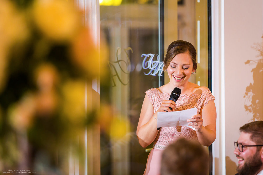 Bridesmaid speech during the wedding reception meal. Photo by Newcastle based wedding photographer Elliot Nichol.