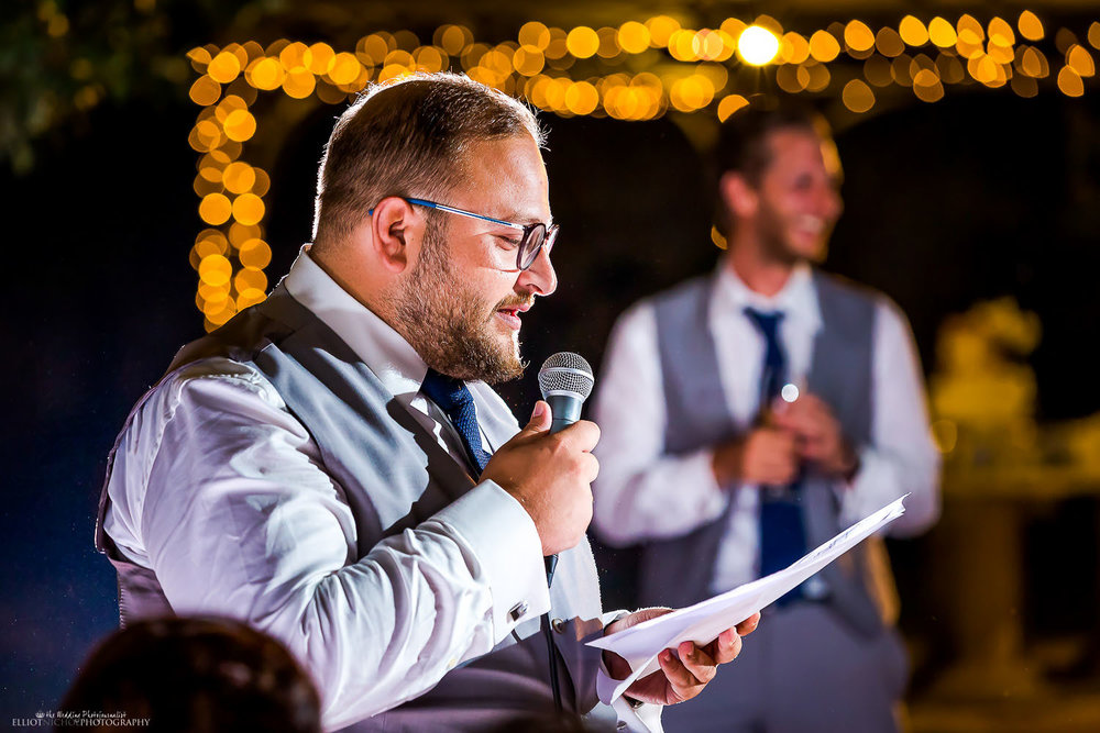 Bestman performing his wedding speech during the reception. Photo by Elliot Nichol Photography.