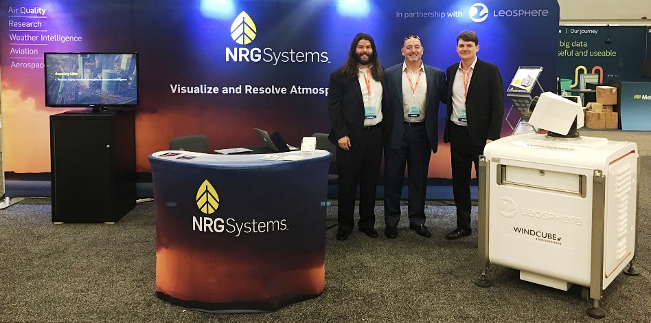 L-R: Dwyer Haney, Product Manager (NRG Systems),Paul Drewniak,Manager of Lidar Meteorology Solutions for North America (NRG Systems), and Ludovic Thobois,Scientific Studies Manager for Meteorology and Aviation Weather Applications (Leosphere) in NRG Systems' booth at AMS 2018.
