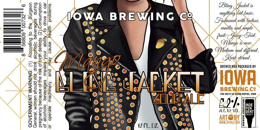 Bling Jacket is anything but basic. Fashioned with lactose, vanilla and ample fruit. Juicy. Tart. Mango is now. Medium and different. Kveik eternal.