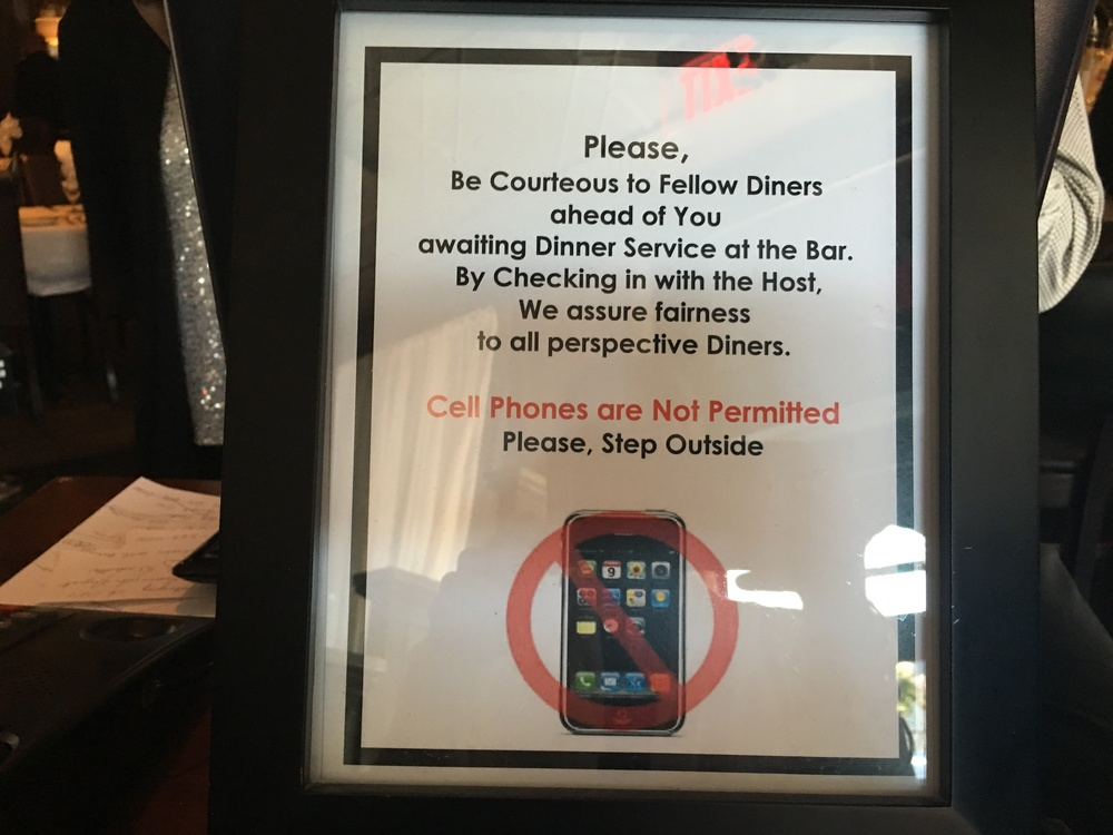 This restaurant in Highlands, NC kindly asked us not to use our phones.