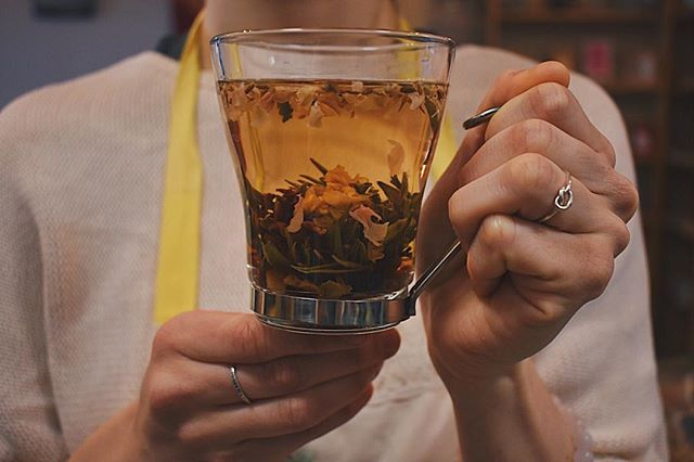 Come in and try our new #flowering tea! Watch the flower unfold in the cup and celebrate spring!