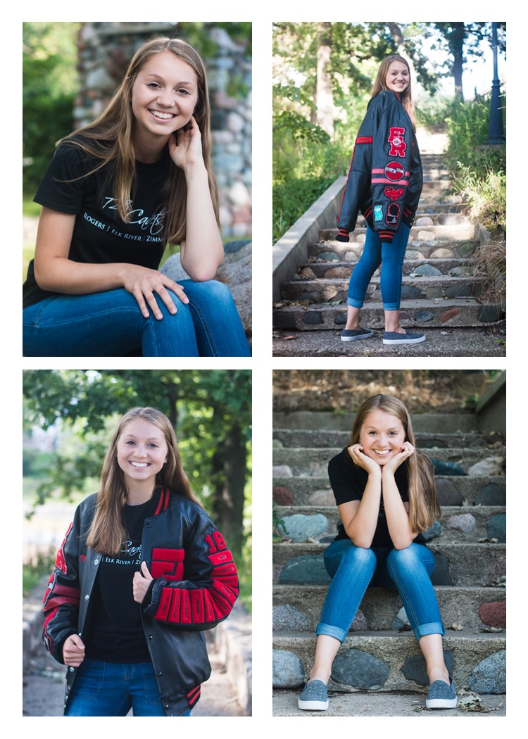 Senior girl with letter jacket and band shirt pictures at handke pit in elk river minnesota