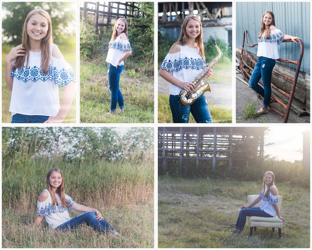 Senior band pictures in Albertville at an abandoned barn.