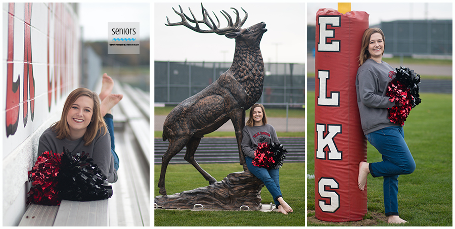 senior girl cheerleading pictures school mascot bleachers elk river minnesota