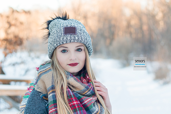 senior girl with hat and scarf accessories for winter senior photography