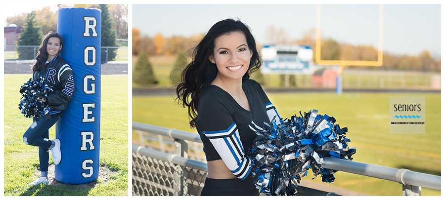 senior girl cheerleading pictures on the football field