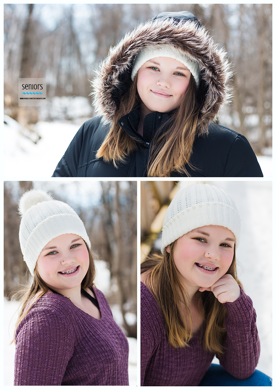 Elk River senior girl taking winter photos at a park in Elk River, Minnesota