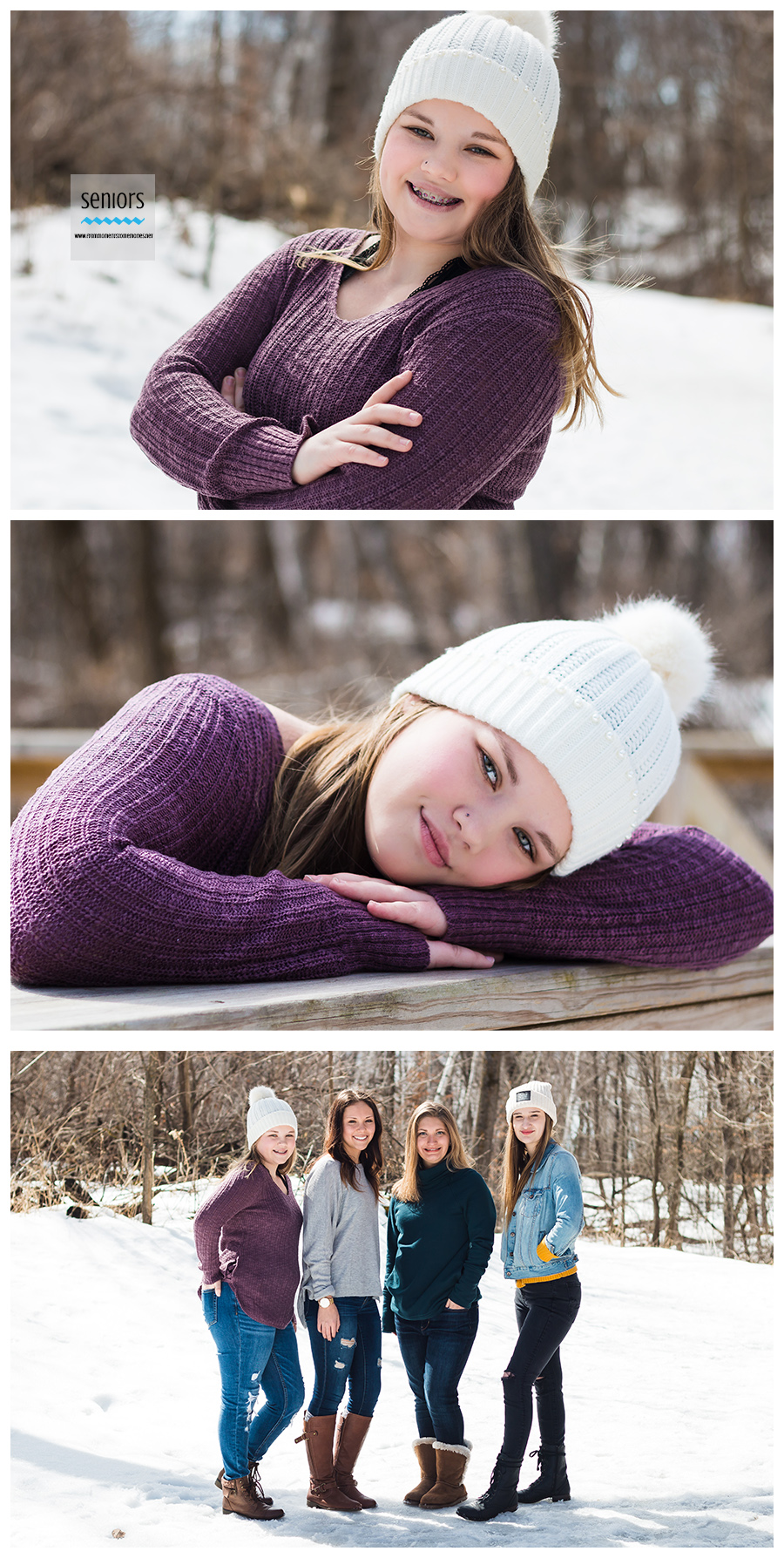 Teenage girls taking senior photos in a group in the winter at Woodland Trails Park in Elk River, Minnesota.