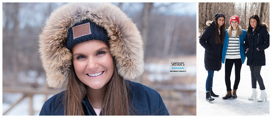 Winter group of girls having senior photos taken in Elk River, Minnesota
