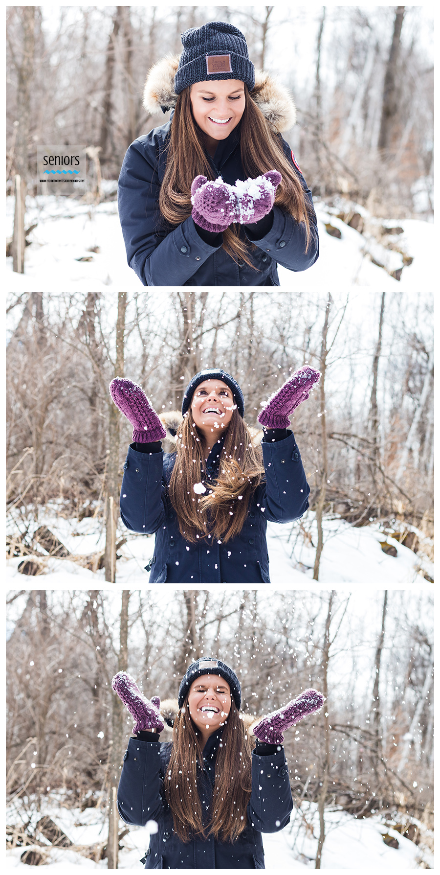 teenage girl throwing snow up during senior photo session at a park in elk river, Minnesota