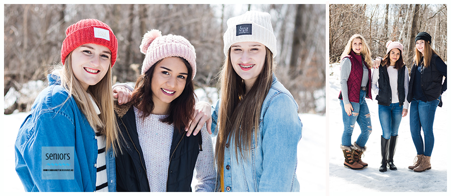 teenagers hanging out at a park in elk river, minnesota for a winter senior photo shoot