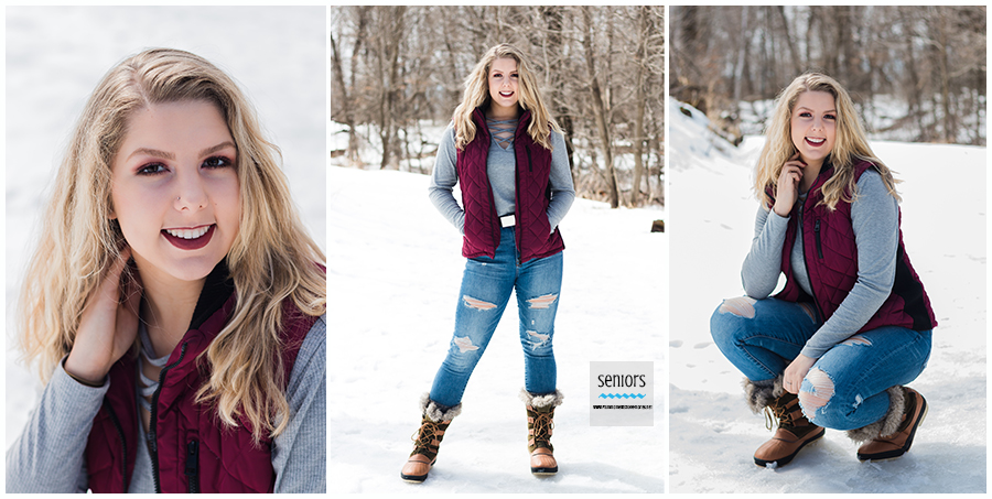princeton high school senior girl portraits in winter at a park in elk river minnesota